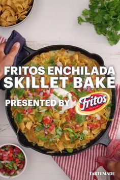 Want to make the best-ever enchilada bake your whole family will love? Turn weeknight dinner into a breeze with this Fritos version of your favorite cheesy dish! Trust us, everyone will be asking for seconds. #Sponsored by Fritos Meat Recipes, Mexican Food Recipes, Appetizer Recipes, Chicken Recipes, Cooking Recipes, Healthy Recipes, Skillet Recipes, Recipies, 13 Desserts