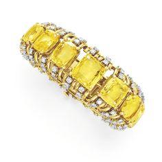 Verdura diamond and yellow cushion-cut sapphire bracelet.