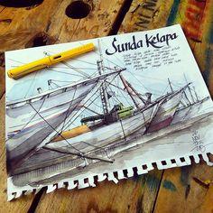 Sunda Kelapa Harbour, Jakarta.   ink + watercolour on sketch paper