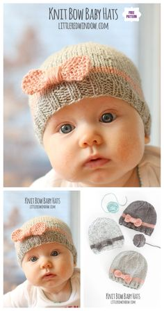 Knit Bow Baby Hat Free Knitting Pattern Knit Bow Baby Beanie Hat Free Knitting Pattern Knitting , lace processing is the most beautiful hobbies that girls are u. Baby Hat Knitting Patterns Free, Baby Hat Patterns, Baby Hats Knitting, Free Knitting, Knit Beanie Pattern, Knitting Ideas, Free Pattern, Newborn Knit Hat, Knitted Baby Beanies