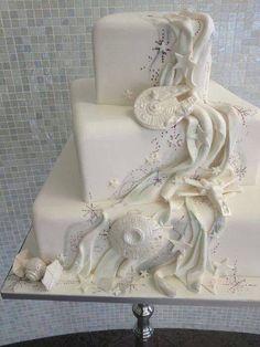 Yes! Nerdy, yet elegant. Subtle Star Wars wedding cake. Quite the cake!