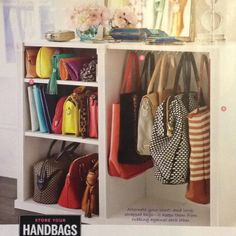 Closet island for bag storage- Shelves to keep clutches and hooks to hang the rest!