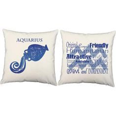 Aquarius throw pillows. These zodiac pillows add a whimsical touch to any living room or bedroom. Made to order in USA. Indoor and outdoor material available.