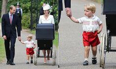 British Monarchy on Twitter:  Christening of Princess Charlotte of Cambridge, July 5, 2015-Duke and Duchess of Cambridge with Prince George and Princess Charlotte (in her pram)