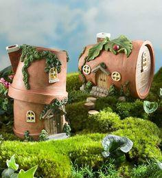 Miniature fairy houses miniature mini fairy garden houses homey ideas best homes on gnome home diy . Flower Pot Crafts, Fairy Crafts, Garden Crafts, Flower Pots, Mini Fairy Garden, Fairy Garden Houses, Fairy Gardening, Gardening Quotes, Organic Gardening