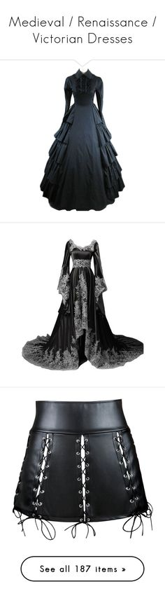 """""""Medieval / Renaissance / Victorian Dresses"""" by heavymetalvampirequeen ❤ liked on Polyvore featuring dresses, gothic lolita dress, longsleeve dress, gothic dresses, gothic clothing dresses, victorian goth dress, gowns, long sleeve ball gowns, vintage gowns and long sleeve formal dresses"""