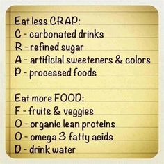 Fitness motivation: Eat Less Crap - Workout Obsession Get Healthy, Healthy Tips, Healthy Choices, Eating Healthy, Healthy Weight, Healthy Recipes, Easy Recipes, Healthy Foods, Healthy Habbits