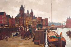 Paardenspan bij de Prins Hendrikkade te Amsterdam, op de achtergrond de Schreierstoren en Nicolaaskerk, olieverf op doek, Frederik Willem (Frits) Verdonk (1902-1963)