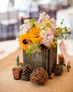 Reception decor - flowers, table number