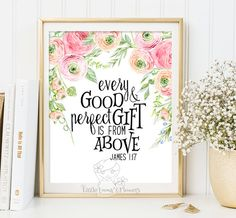 Wall art Bible Verse Art Printable Scripture decor James 1:17 printable scripture print wall bible verse Every good and perfect gift ID188