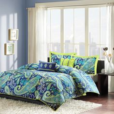 Intelligent Design Melissa Comforter Set Full/Queen Size - Blue Green, Paisley – 5 Piece Bed Sets – Peach Skin Microfiber Teen Bedding for Girls Bedroom Blue Comforter Sets, Duvet Sets, Duvet Cover Sets, Ruffle Comforter, Yellow Bedding, Teen Girl Comforters, Teen Bedding, Echo Bedding, Paisley Bedding