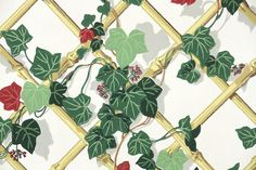 1950s Vintage Wallpaper by the Yard  Green and by HannahsTreasures