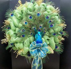 HANDMADE PEACOCK DECO MESH WREATH! Just what I need for my daughter Brittany!!