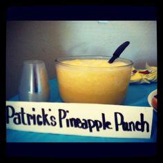 Patrick's pineapple punch- pineapple sherbet punch for kids spongebob party!