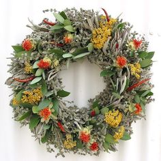 """Safflower and Herb Natural Dried and Preserved Wreath – 16"""""""