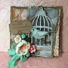 Sizzix Tim Holtz Bird Cage die, Prima and handmade flowers, Prima Tea Time papers, molding paste, sprays