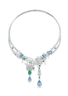 Piaget Rose Passion necklace in white gold, set with tourmalines, topaz and diamonds.