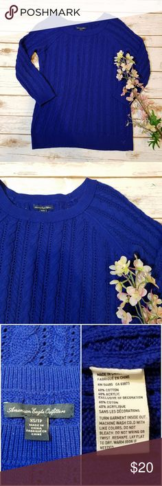Cobalt Knit Sweater American Eagle Outfitters cobalt open knit sweater with 3/4 sleeves in good used condition American Eagle Outfitters Sweaters Crew & Scoop Necks