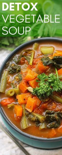 If you are trying to eat clean, this delicious, low-fat detox soup is the perfect healthy recipe for you! There are a rainbow of colors from the vegetables in this beautiful soup that is also low in sugar. The vitamin-rich and fiber-filled recipe is vegetarian so I usually add a can of garbanzo beans or cooked ground turkey to add more protein to this recipe. This rich and flavorful soup recipe is a great go-to snack, so make a big batch and eat healthy all week! #detox #detoxrecipe #healthy