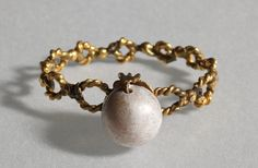 Ancient to Medieval (And Slightly Later) History — Roman Gold and Pearl Rings, 4th Century AD and...