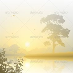 A Misty River Landscape with Sunrise, Sunset. Fully editable vectorEPS 10 , gradients and transparencies used.