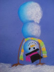 a faithful attempt: Snowmen at Night Chalk Pastel Drawings