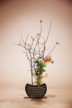 花材:ぼけ 雪柳 ピンポンマム 花器:大津寄花堂    Arranged by  Naoka Shima     Sogetsu school of ikebana    Material : Japanes quince, Thunberg spirea, Chrysanthemum Container: Ceramic