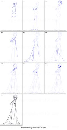 How to Draw Elsa from Frozen Fever printable step by step drawing sheet : - Trend Disney Stuff 2019 Frozen Drawings, Cute Disney Drawings, Disney Princess Drawings, Disney Sketches, Cartoon Drawings, Elsa Drawing Easy, Easy Drawing Steps, Step By Step Drawing, Drawing For Kids