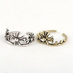 Ruffled antique silver&antique copper good quality crow heart combination 2 pcs in 1 Alloy Korean #Rings (2pcs)  www.asujewelry.com