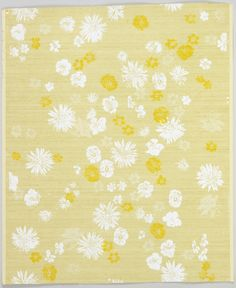Sidewall, 'Scattered Flowers' |  | USA, 1960-1966 | Screen-printed on paper | Over gold metallic ground, textured imitation silk fabric, scattered white,beige, bright yellow daisies, pansies, columbines, etc | Cooper-Hewitt
