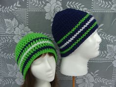 seahawks crochet | Crocheted Men's Beanie, Women's Spring Hat, Unisex Hat, Sounder's ...
