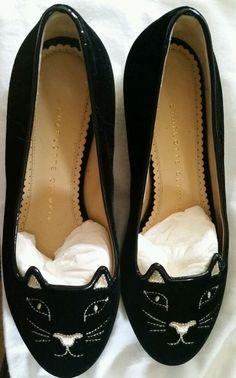 Charlotte Olympia Kitty Flats black Cat  595 Size 36 41ec242b7b8
