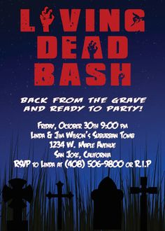 Zombie Halloween Party Invitations  Night of the by PaperworkEnvy, $35.00