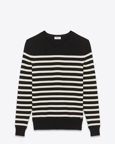 STRIPED SAILOR SWEATER IN BLACK AND IVORY WOOL