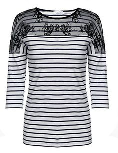 aaa5f055d Meaneor Meaneor Women's Casual Drop-Shoulder 3/4 Sleeve Lace Striped  Patchwork Blouse Black XL at Amazon Women's Clothing store:
