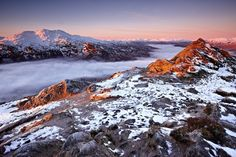 Alpenglow on Ben Venue and the Arrochar Alps seen from Beinn A'an. Image taken on a Canon EOS 1DS Mark 3 camera.