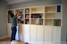 RevolvingDork and I have completed our first DIY home improvement project together: built in bookcases for our living room. It was only a little nerve wracking to coordinate on a project where neit. Billy Bookcase With Doors, Bookcase Door, Ikea Billy Bookcase, Bookshelves Built In, Built Ins, Home Improvement Projects, Home Projects, Kitchen Diner Lounge, Ikea Built In