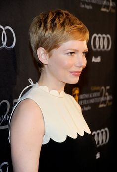 Michelle Williams in scalloped edges dress.