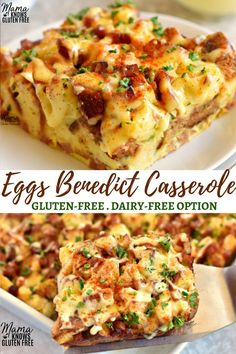you love about Eggs Benedict in an easy overnight breakfast casserole. Everything you love about Eggs Benedict in an easy overnight breakfast casserole.Everything you love about Eggs Benedict in an easy overnight breakfast casserole. Dairy Free Breakfasts, Gluten Free Recipes For Breakfast, Gluten Free Breakfast Casserole, Dairy Free Quiche Recipes, Gluten Free Quiche, Dairy Free Egg Casserole, Dairy Free Sauces, Gluten Free Dinners, Easy Gluten Free Recipes