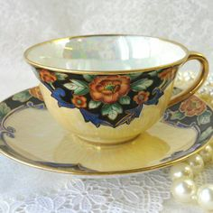 NORITAKE JAPAN Vintage Teacup and Saucer/ by HoneyandBumble