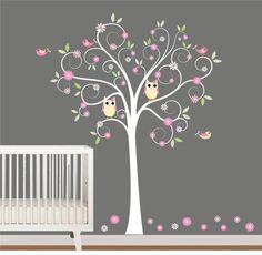 Curl Branch Tree with Owls Birds Flowers Nursery by NurseryWallArt, $95.00