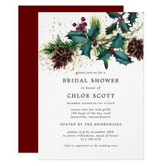 Rustic Holly and Berries Botanical Bridal Shower Invitation Engagement Party Invitations, Bridal Shower Invitations, Zazzle Invitations, Wedding Stationery, Invites, Christmas Party Invitations, Xmas Party, Chic Wedding, Rustic Wedding