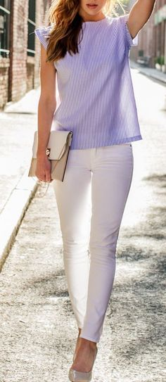 Blue Pinstripes Top with White Pant - Chic Street