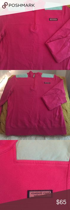 Vineyard vines shep shirt, pink and mint This is an authentic vineyard vines shep shirt. Hot pink and mint colored shoulders. This is in good used condition. Has no rips. Some tiny tiny spots that are just from use but not noticeable when wearing. Comes from a smoke free home. Selling for $50 on m ercar i. Vineyard Vines Sweaters