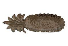 Ceramic Pineapple Plate, Bronze on OneKingsLane.com $15