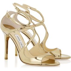 Gold Mirror Leather Sandals ($755) ❤ liked on Polyvore featuring shoes, sandals, leather sandals, gold leather shoes, strappy shoes, gold shoes and strappy sandals