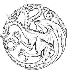 3 Headed Dragon, Dragon Sketch, House Sketch, Cute Coloring Pages, Dragon Pictures, Pen Sketch, Head Tattoos, Art File, Dragon Art