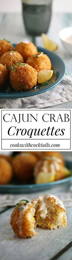 Cajun Crab Croquettes- balls of creamy mashed potatoes stuffed with cajun seasoned crab, sweet corn, smoky bacon, and swiss cheese. Cajun Recipes, Seafood Recipes, Appetizer Recipes, Cooking Recipes, Shellfish Recipes, Cajun Cooking, Louisiana Recipes, Creole Recipes, Seafood Dishes