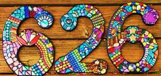 """12"""" Tall - LARGER CUSTOM Made Mixed Media Mosaic House Numbers - Your Color Choice  - Order Your 12"""" Size Numbers From This Listing"""