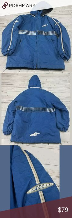 """Alpinestars Racing Ahead Zip Up Hooded Jacket Alpinestars Racing Ahead Zip Up Hooded Jacket Size Medium Detachable Hoodie Used  See Pictures For Condition Marks Shown In Pictures Left Pocket Has A Hole  All Measurements Were Measured Flat Shoulders 22"""" Sleeves 24"""" Armpit To Armpit 24"""" Length 33""""   OFF1-13.5X12X3-2B14Z Alpinestars Jackets & Coats Performance Jackets"""
